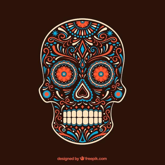 Crânio colorido ornamental açúcar Vetor grátis