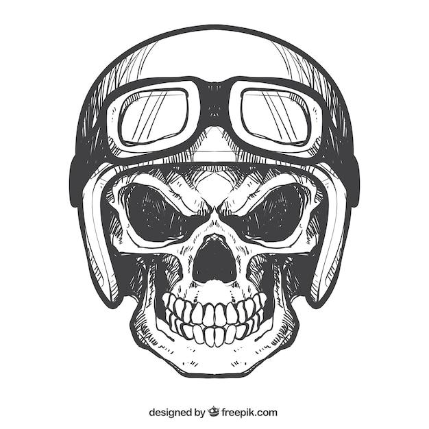 Crânio com capacete e óculos desenhados à mão Vetor Premium