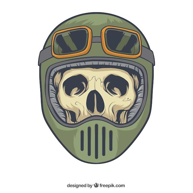 Crânio com capacete e óculos Vetor grátis