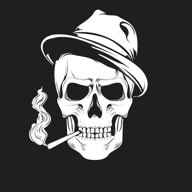 Crânio com chapéu e fumar Vetor Premium