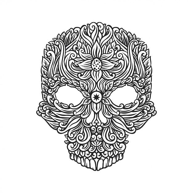 Crânio com desenho floral Vetor Premium
