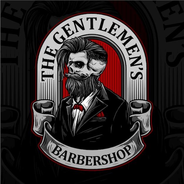 Crânio com distintivo de barbearia retrô e ferramentas de barbearia apropriadas para o logotipo de penteado de barbeiro Vetor Premium