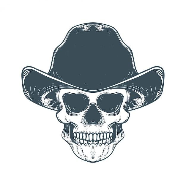 Crânio com ilustração de obras de arte vintage de chapéu Vetor Premium