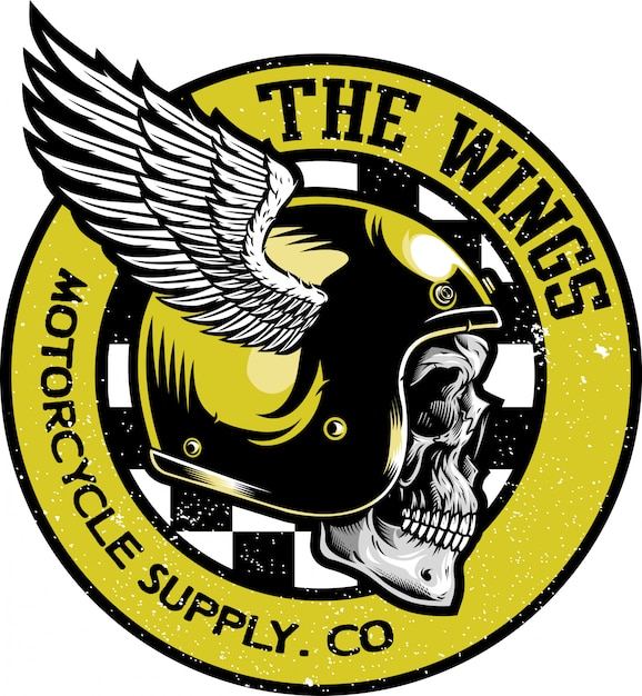 Crânio com logotipo de vetor de capacete clássico Vetor Premium