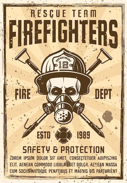 Crânio com máscara de gás e capacete de bombeiro com pôster de dois ganchos cruzados no vintage. ilustração com texturas grunge e texto do título em uma camada separada Vetor Premium