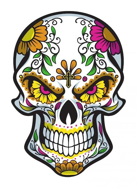 Crânio com pintura de rosto de dia de los muertos Vetor Premium