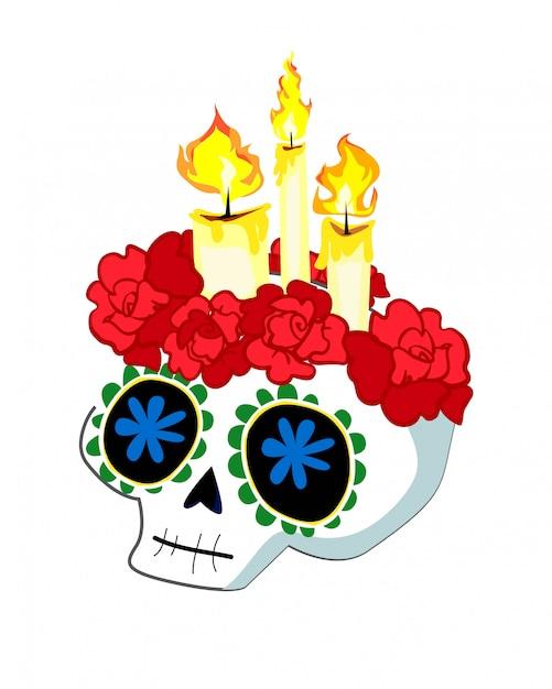 Crânio com velas e rosas. Vetor Premium