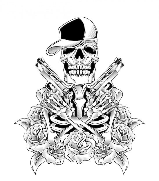 Crânio com vetor de arma Vetor Premium