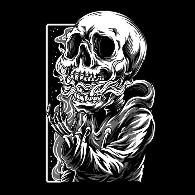 Crânio crianças preto & branco ilustração Vetor Premium