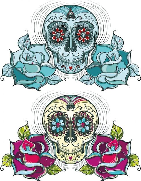 Crânio de açúcar de vetor com rosas. colorido e unicolor. Vetor Premium