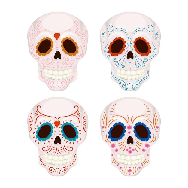 Crânio de açúcar mexicano dos desenhos animados com ilustração de padrões tradicionais para o dia dos mortos Vetor Premium