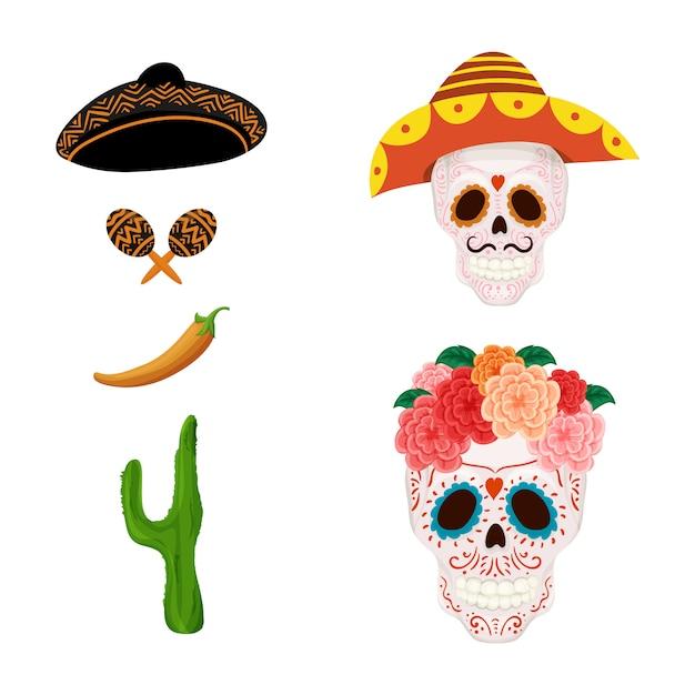 Crânio de açúcar mexicano dos desenhos animados Vetor Premium