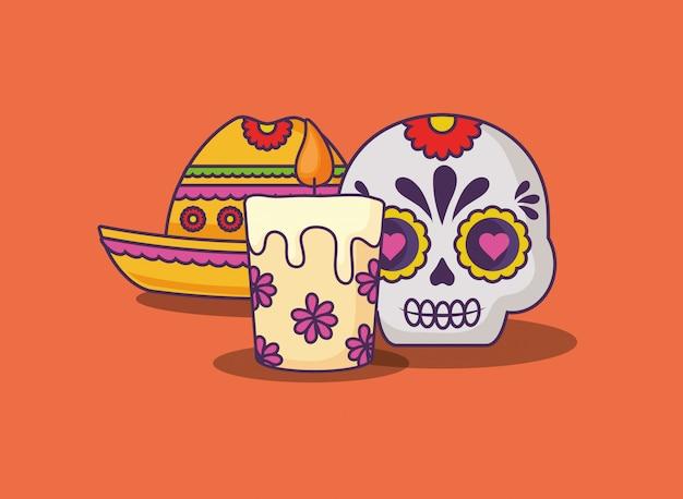 Crânio de açúcar mexicano Vetor Premium