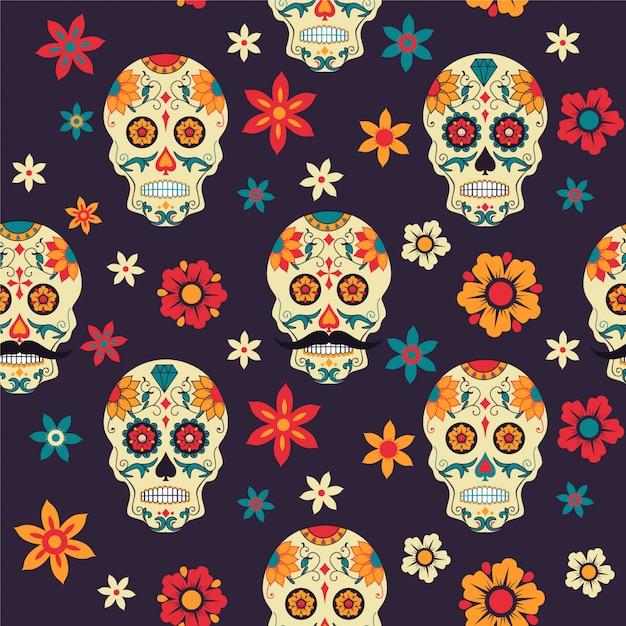 Crânio de açúcar padrão sem emenda, flores. dia mexicano dos mortos. Vetor Premium