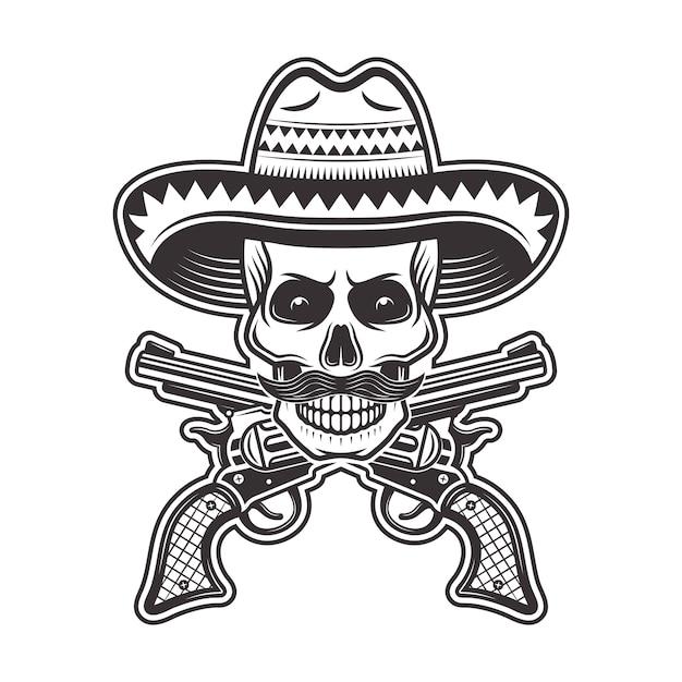 Crânio de bandido mexicano com chapéu sombrero, com bigode e ilustração de armas cruzadas em monocromático sobre fundo branco Vetor Premium
