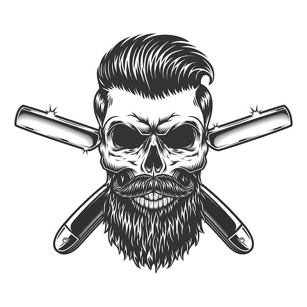 Crânio de barbeiro barbudo e bigode Vetor grátis