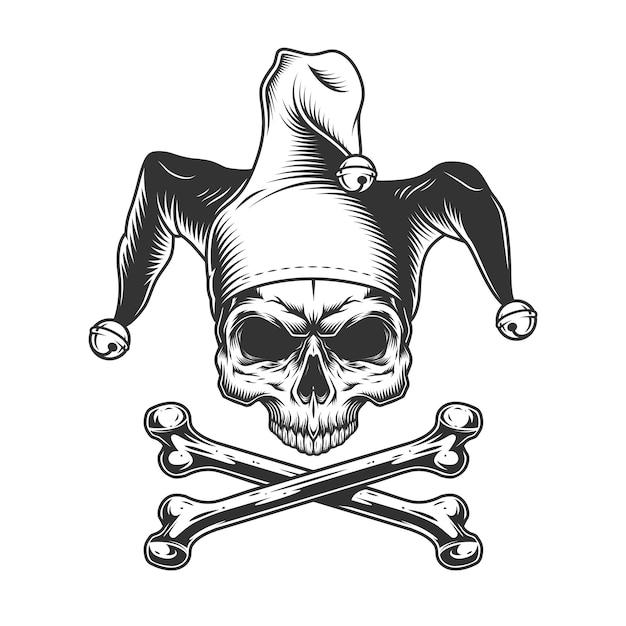 Crânio de bobo da corte vintage sem mandíbula Vetor grátis
