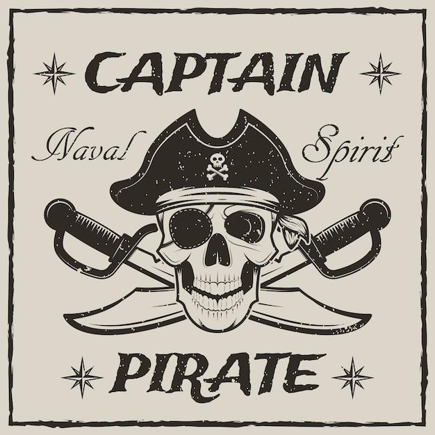 Crânio de capitão pirata e espadas cruzadas esboçar ilustração grunge Vetor Premium
