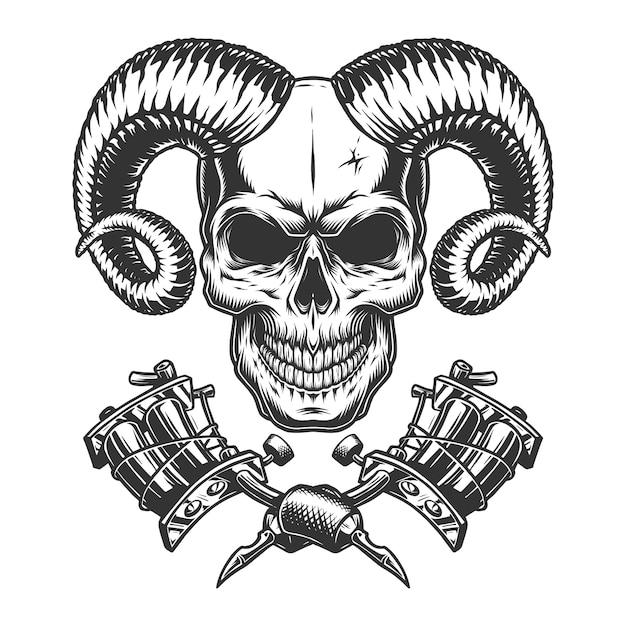 Crânio de demônio monocromático vintage Vetor grátis