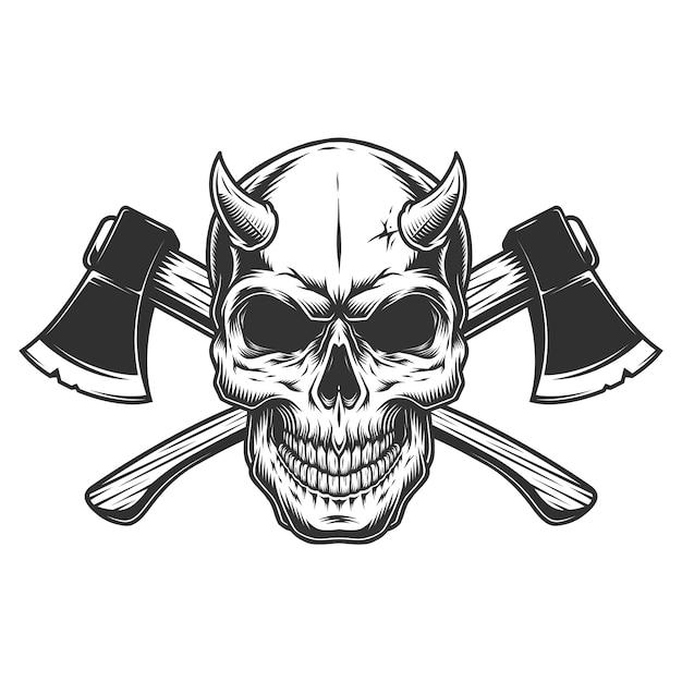 Crânio de demônio vintage com chifres Vetor grátis