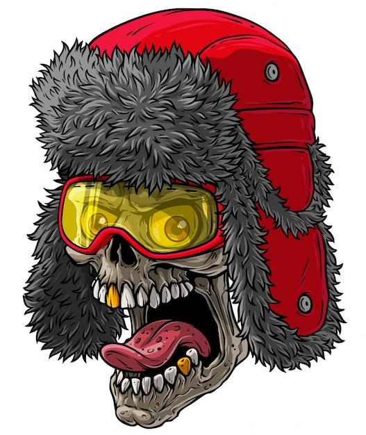 Crânio de desenho animado no chapéu de pele de inverno com abas de orelha Vetor Premium
