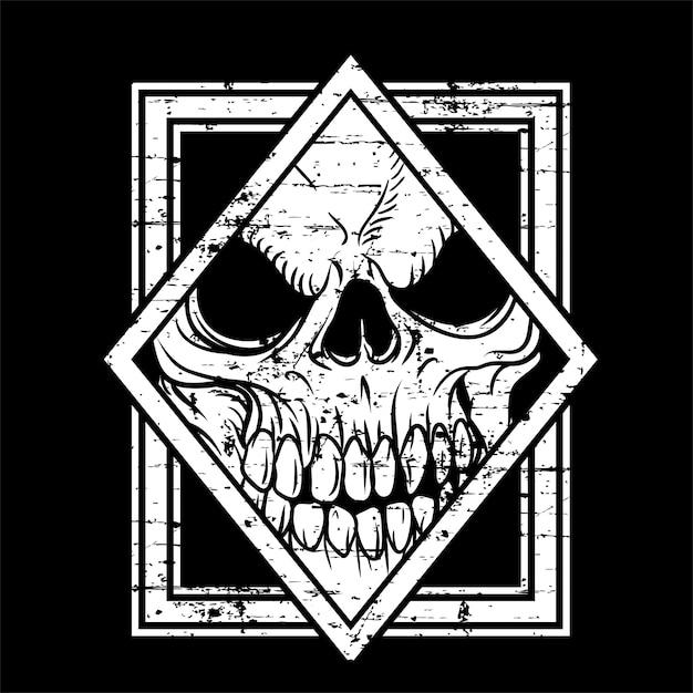 Crânio de estilo grunge na mão desenhado estilo Vetor Premium