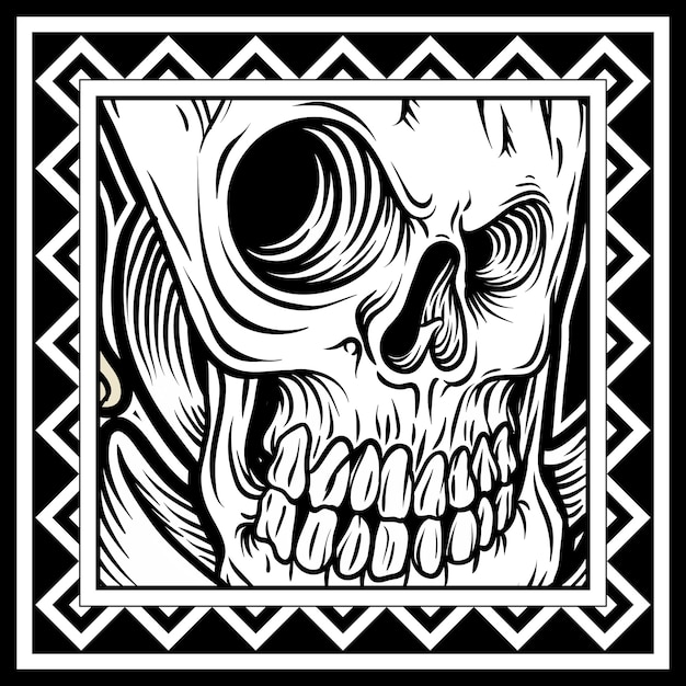 Crânio de estilo vintage na mão desenhada estilo Vetor Premium