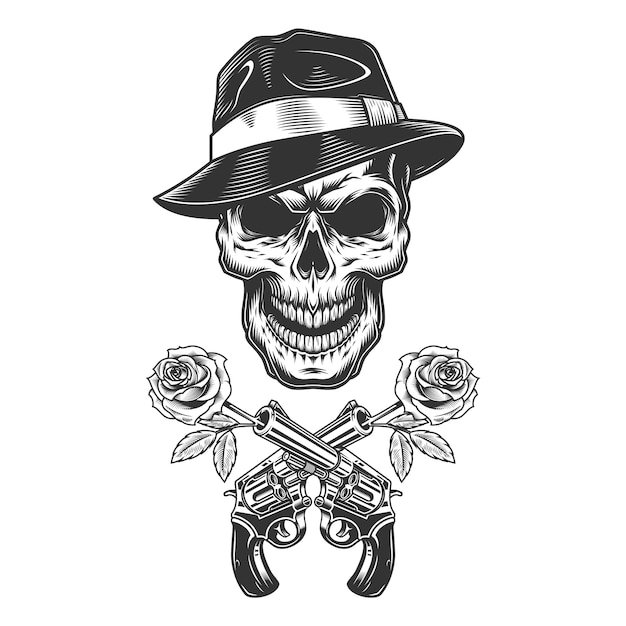 Crânio de gangster monocromático vintage Vetor grátis