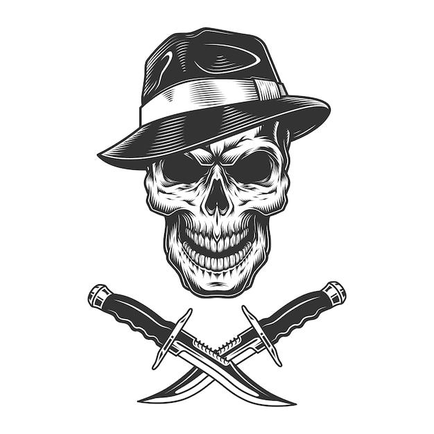 Crânio de gangster usando chapéu fedora Vetor grátis