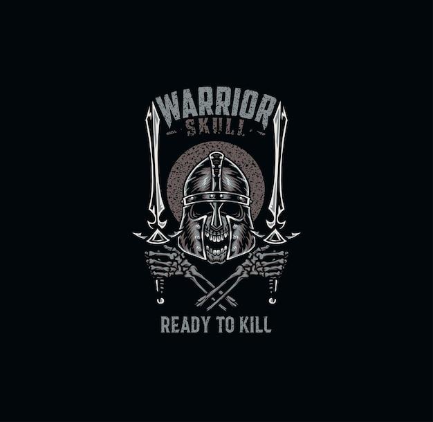 Crânio de guerreiro, design gráfico de camiseta, estilo de linha desenhada à mão com cor digital Vetor Premium