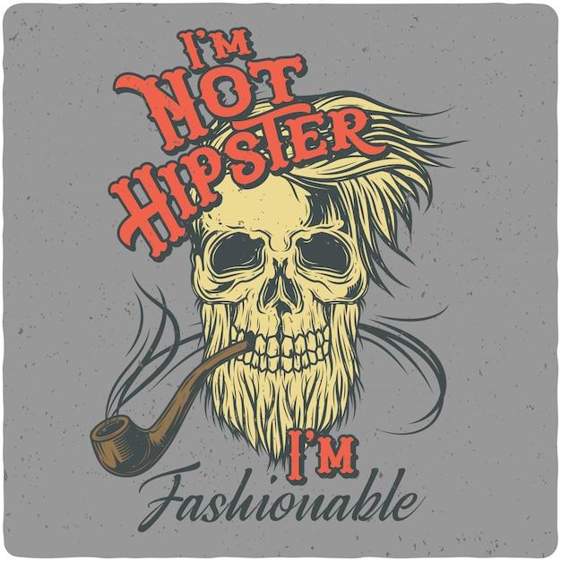 Crânio de hipster Vetor Premium