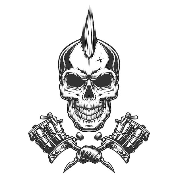 Crânio de mestre tatuagem monocromática vintage Vetor grátis