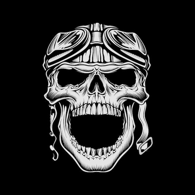 Crânio de moto vintage ilustração usando capacete retrô Vetor Premium