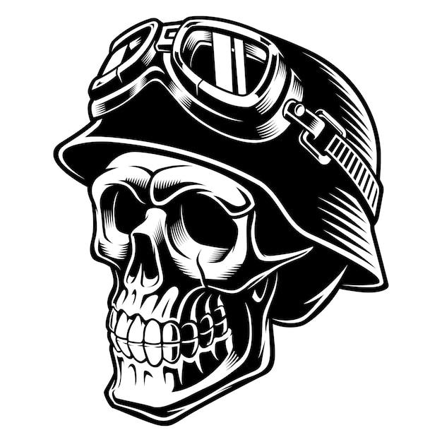 Crânio de motociclista com capacete. piloto de motocicleta. sobre fundo branco. Vetor Premium
