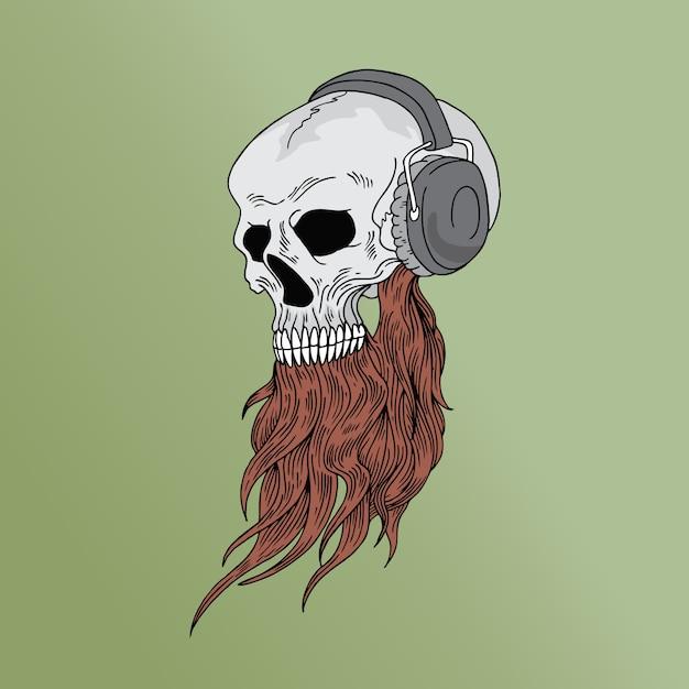 Crânio de música Vetor Premium