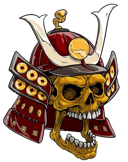 Cranio De Ouro Dos Desenhos Animados No Capacete Samurai Japones