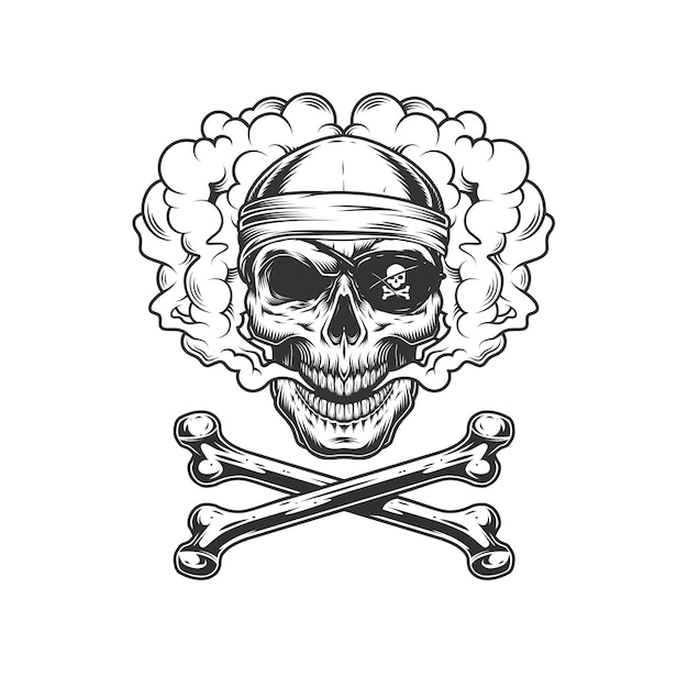 Crânio de pirata monocromático vintage Vetor grátis