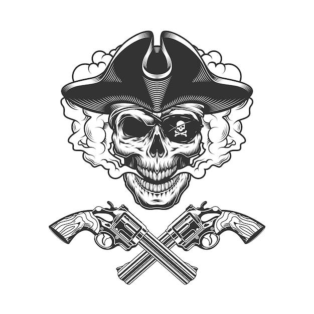 Crânio de pirata vintage com tapa-olho Vetor grátis