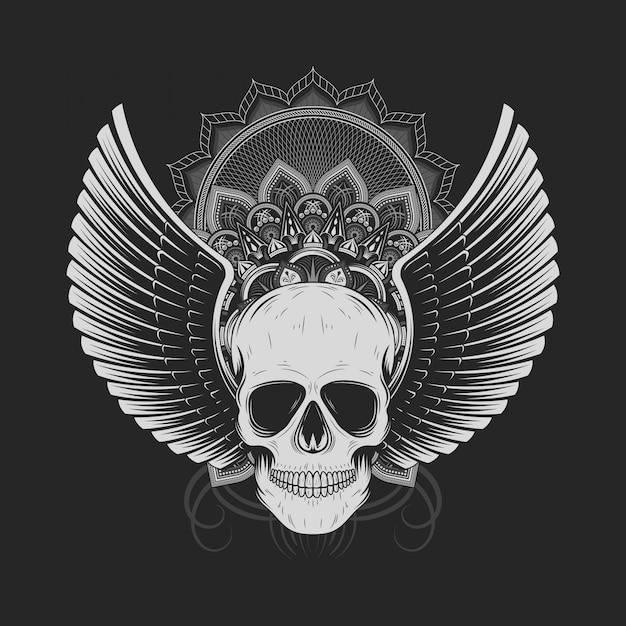 Crânio de prata com asas de anjo Vetor Premium