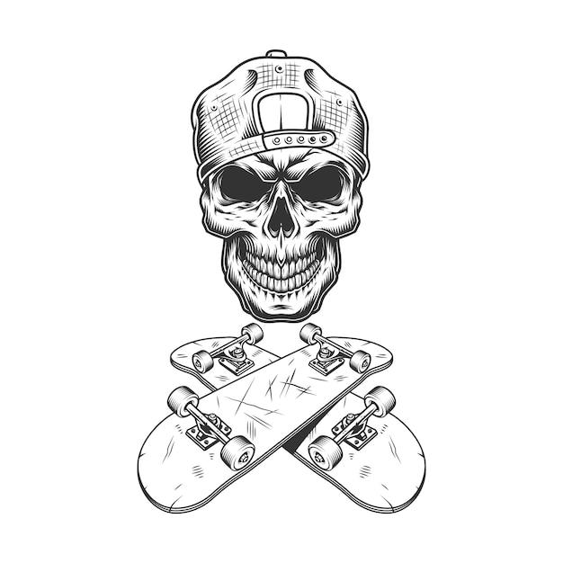 Crânio de skatista monocromático vintage na tampa Vetor grátis