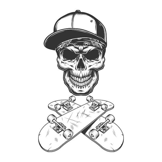 Crânio de skatista no boné de beisebol e bandana Vetor grátis