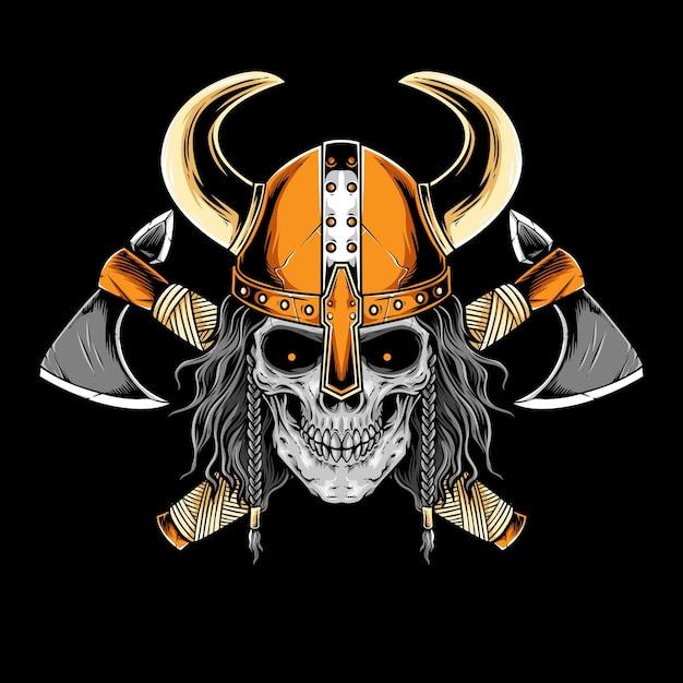 Crânio de viking com arte vetorial de armadura Vetor Premium