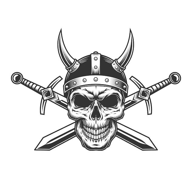 Crânio de viking monocromático vintage Vetor grátis