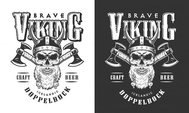Crânio de viking no emblema do capacete com chifres Vetor grátis