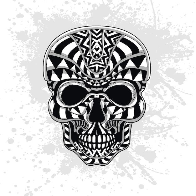 Crânio decorado com formas abstratas Vetor Premium