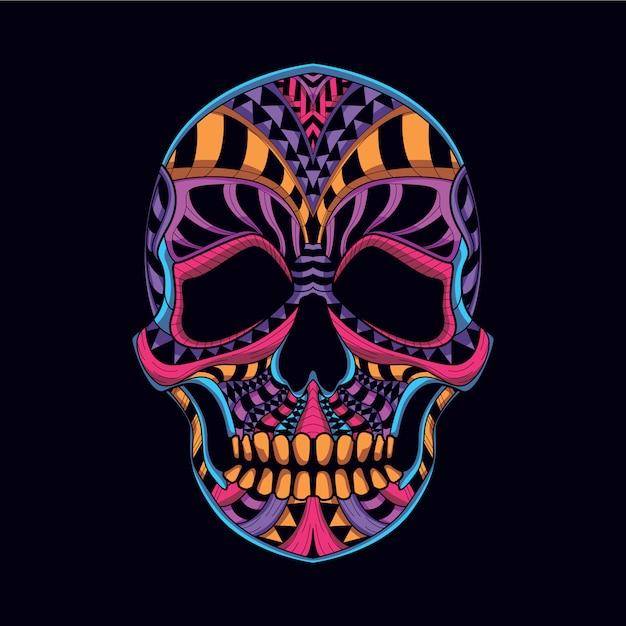 Crânio decorativo da cor neon Vetor Premium
