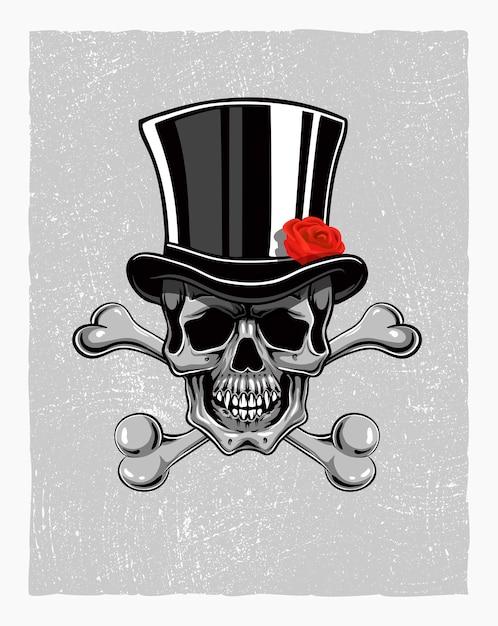 Crânio desenhado de mão com chapéu Vetor Premium