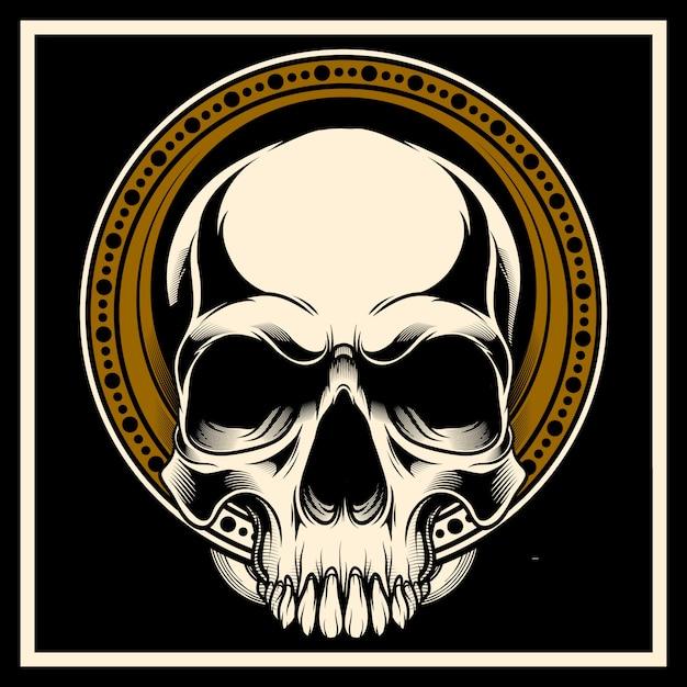 Crânio desenhado de mão Vetor Premium