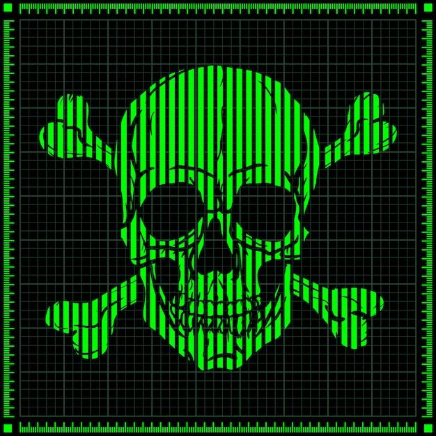 Crânio digital verde sobre fundo escuro. Vetor Premium