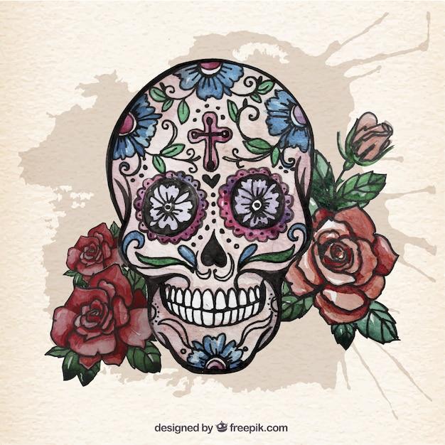 Crânio do açúcar da aguarela com rosas Vetor grátis